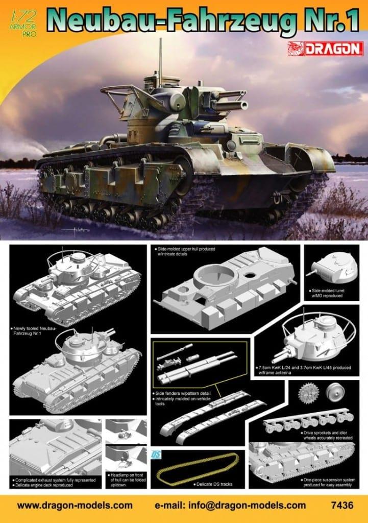 Dragon 1//72 7436 WWII German Neubau-Fahrzeug Nr.1 Multi-Turreted Heavy Tank