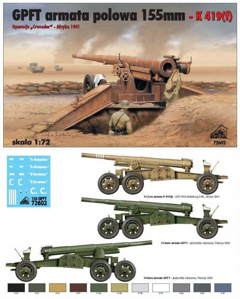Armored Vehicles For Sale >> RPM – 72602 – GPFT 155mm M1918 Armata Polowa – K419(f) – Vehicles - 1/72 Scale - Miniature ...